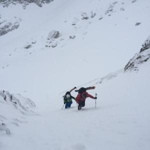 Tanner Flanagan and Aaron Pruzan Hiking Up the Sliver.