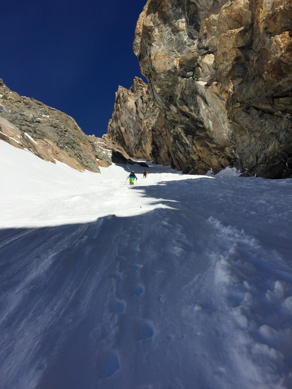 On our way up the Amora Vida Couloir.