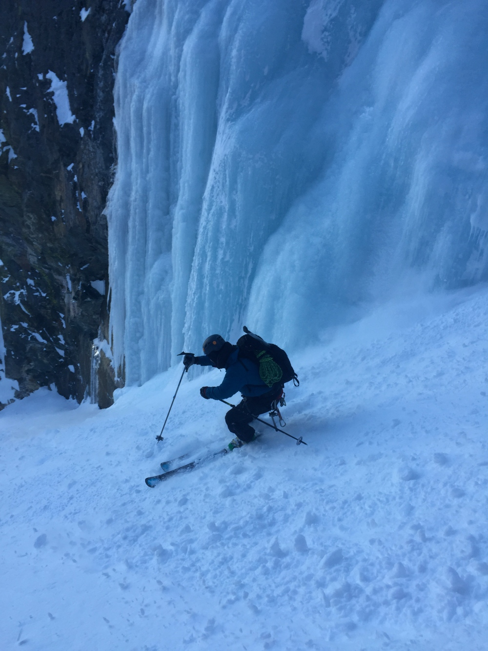 Pete skiing through the Ice Alley.