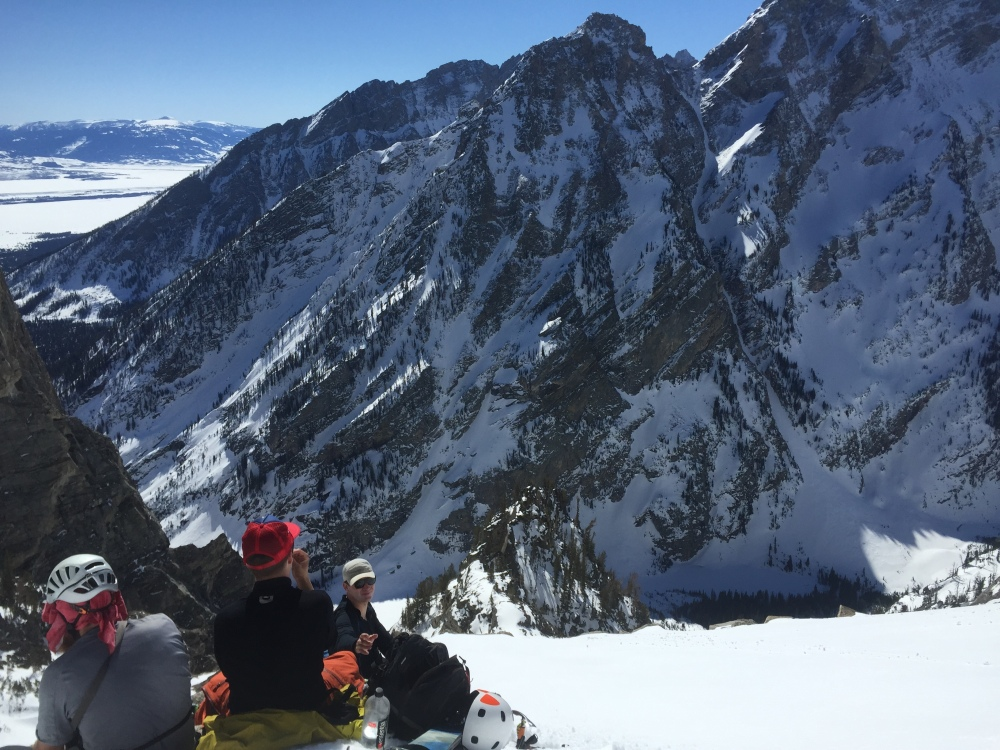 Taking a break before heading up the couloir.