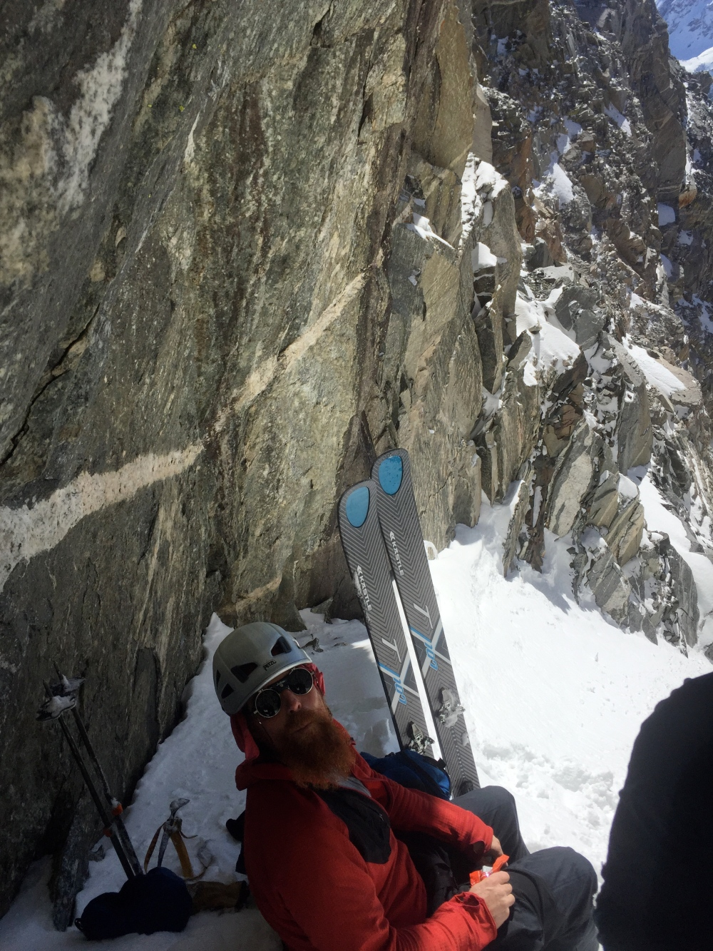 Mark Fellerman enjoying the some shade at the top of the Couloir.