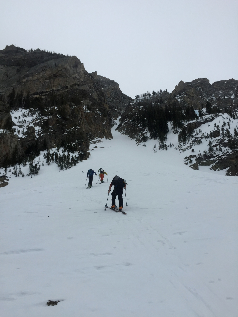 Eric Seymour, Mark Fellerman, Tanner Flanagan, and Fred Marmsater working there way up to the couloir.