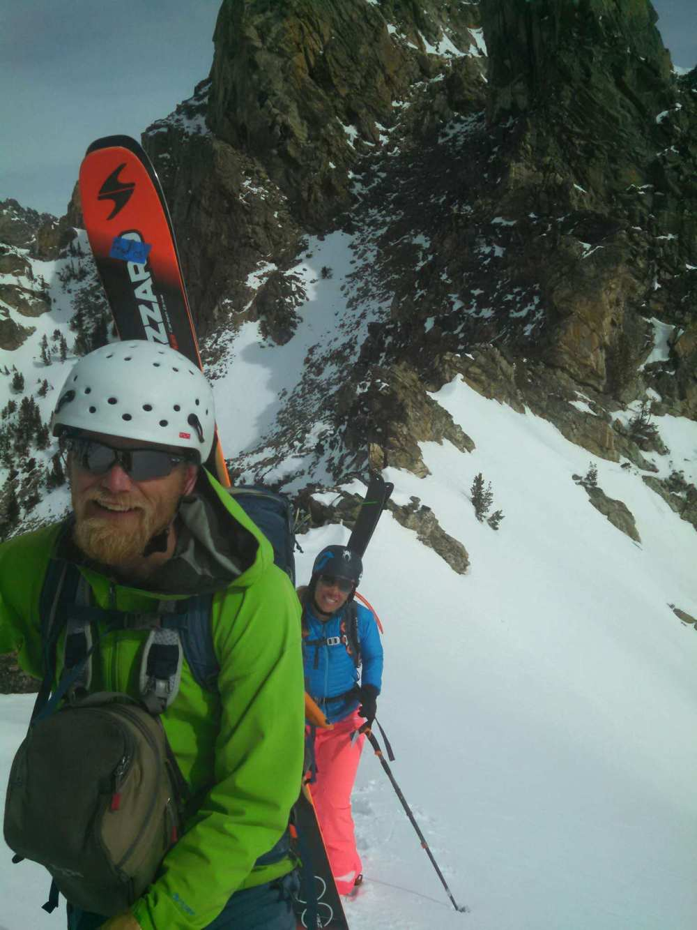 Spirits were high at the top of the Tube.  After boot packing up the couloir we knew we would have powder top to bottom!