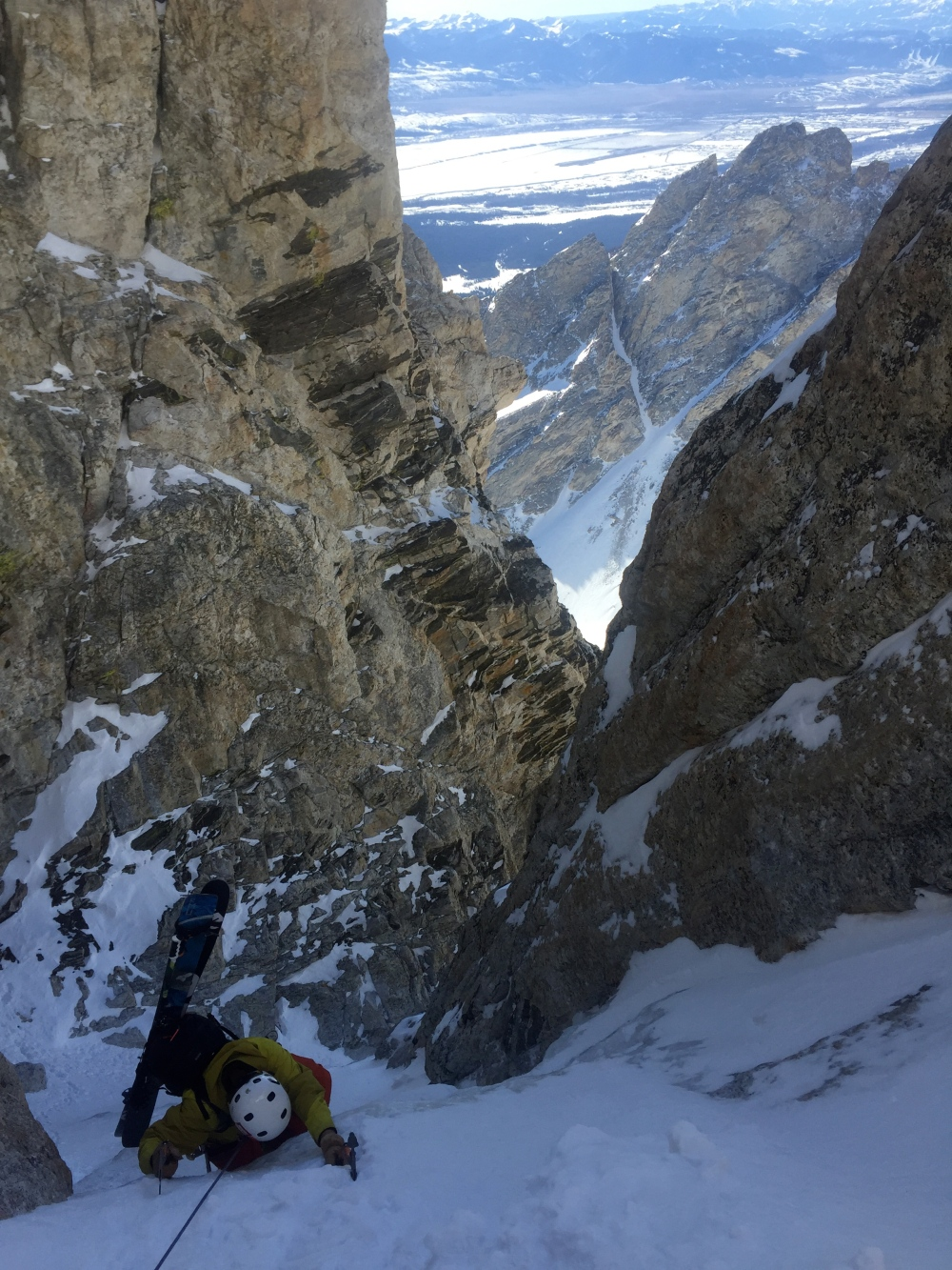 Tanner Flanagan Climbing Up and Over the Ice Bulge in the Chevy Couloir.