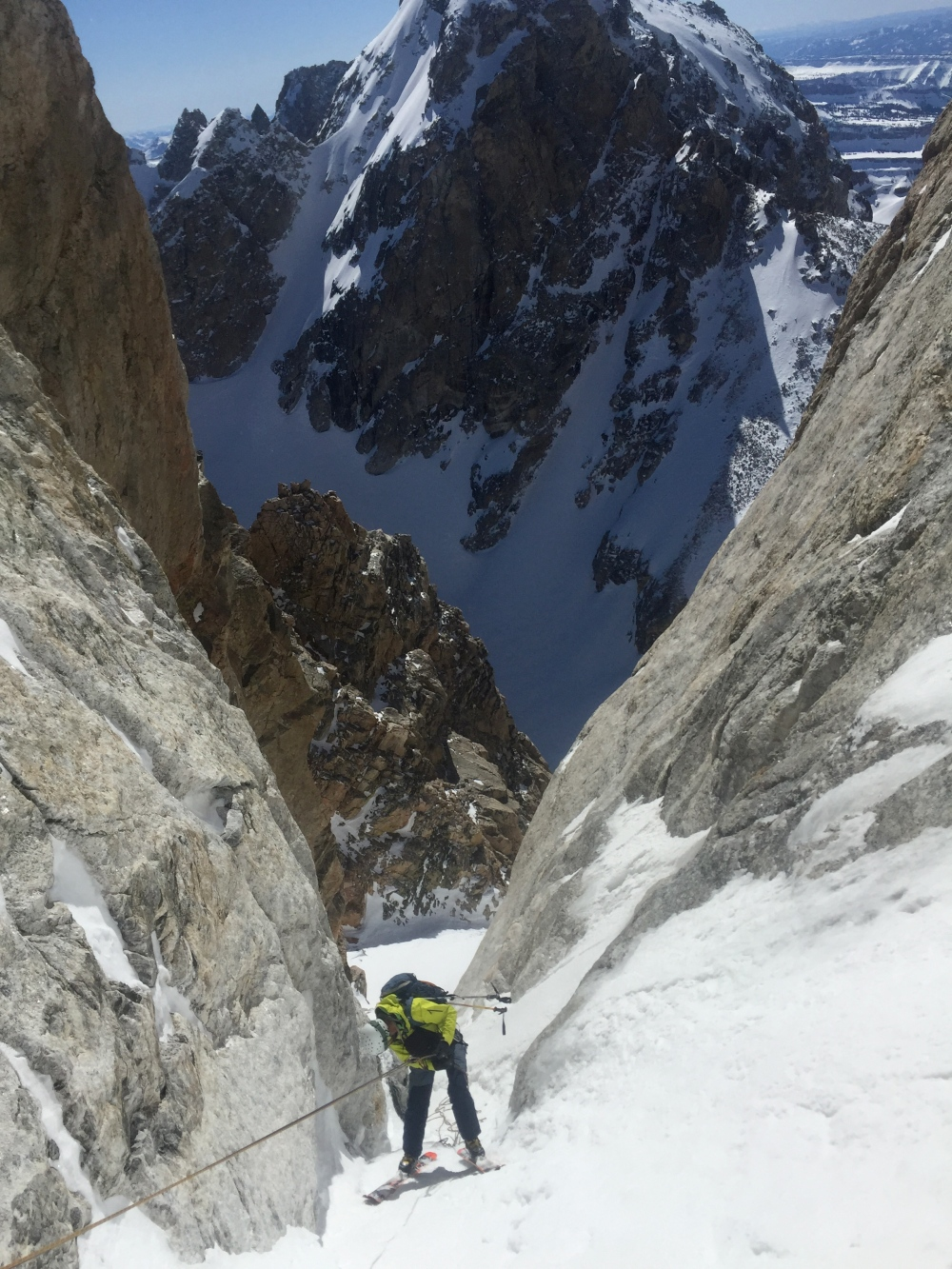 Tanner Flanagan Rapping the Last Pitch of the Chevy Couloir.