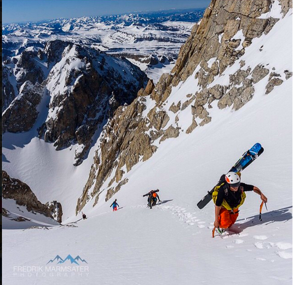 Tanner Flanagan Approaching the top of the Chevy Couloir - Photo by Fredrik Marmsater